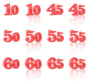 Liczby w trójwymiarowym wizerunku 10, 65 Zdjęcie Royalty Free