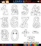 Liczby z kreskówki zwierzętami dla kolorystyki Obrazy Stock