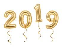 Liczby 2019 zrobili złoci balony odizolowywający na białym tle 2019 nowy rok pojęcie royalty ilustracja