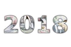 2018 liczebnik cyfr biała panorama z Amerykańskimi dolarowymi banknot rolkami w wszystkie wyznaniach Nowy Rok 2018 jest nadchodzą Zdjęcie Stock