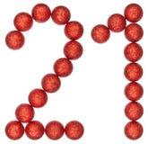 Liczebnik 21, dwadzieścia jeden, od dekoracyjnych piłek, odizolowywać na bielu Fotografia Stock