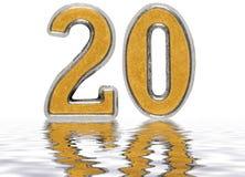Liczebnik 20, dwadzieścia, odbijający na wodnej powierzchni, dalej Zdjęcia Royalty Free