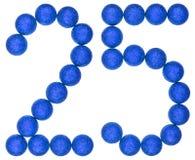 Liczebnik 25, dwadzieścia pięć, od dekoracyjnych piłek, odizolowywać na whit Zdjęcie Stock