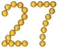 Liczebnik 27, dwadzieścia siedem, od dekoracyjnych piłek, odizolowywać na whi Obrazy Stock
