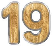 Liczebnik 19, dziewiętnaście, odizolowywający na białym tle, 3d odpłaca się royalty ilustracja