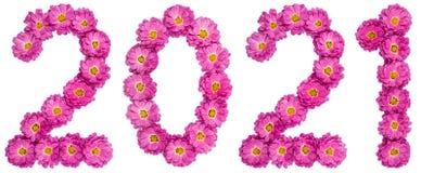 Liczebnik 2021 od kwiatu chryzantema, odizolowywającego na białym bac Fotografia Stock