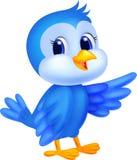 Śliczna błękitna ptasia kreskówka Zdjęcia Royalty Free