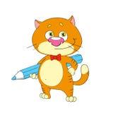 Śliczna charakteru kota naukowa wektoru sztuka Zdjęcie Royalty Free