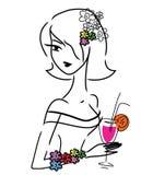Śliczna doodle dziewczyna z napojem Zdjęcia Stock