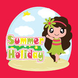 Śliczna dziewczyna na wakacje letni kreskówce, lato pocztówce, tapecie i kartka z pozdrowieniami, royalty ilustracja
