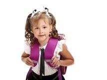 Śliczna dziewczyna z schoolbag Zdjęcia Stock
