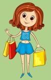 Śliczna dziewczyna z zakupami Zdjęcia Royalty Free