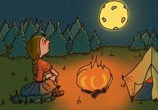 Śliczna ilustracja dziewczyna wycieczkuje w drewnach Obraz Stock