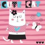 Śliczna kota i motyla wektoru ilustracja Zdjęcie Stock