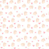 Śliczna królika i serc ilustracja, bezszwowy wzór Zdjęcie Stock