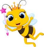 Śliczna królowej pszczoły kreskówka Zdjęcie Stock