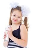 Śliczna mała dziewczynka z szkłem mleko Obraz Royalty Free
