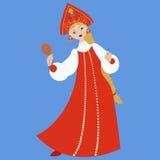 Śliczna Rosyjska dziewczyna w czerwonej tradycyjnej lud sukni Zdjęcie Stock