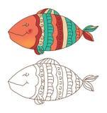 Śliczna ryba w kolorze i konturze Obrazy Stock