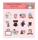 Śliczna szara kot maskotki ilustracja z dodatek specjalny pozami dla parzysty, równy Zdjęcie Royalty Free