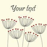 Śliczna unikalna kwiecista karta z dandelions i sercami Zdjęcie Stock