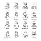 Śliczna wektor linii ikona lekarka Szpital, klinika liniowy logo Zarysowywa medycznego znaka - chirurg, kardiolog, dentysta Obrazy Royalty Free