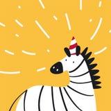 Śliczna zebra jest ubranym partyjnego kapelusz w kreskówka stylu wektorze ilustracji