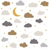 ?liczne dziecko chmury, gwiazdy, ksi??yc deseniowy wektorowy bezszwowy ilustracja wektor