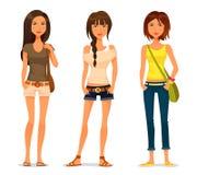 Śliczne kreskówek nastoletnie dziewczyny Obraz Royalty Free