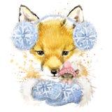Śliczne lis koszulki grafika, akwarela lis i myszy ilustracja, Zdjęcie Stock