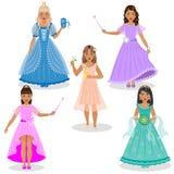 Śliczne Małe czarodziejki i Princesses Zdjęcia Royalty Free