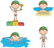 Śliczne wektorowe pływaczek chłopiec w różnych sport sytuacjach Zdjęcie Stock