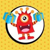 Ślicznego potwora urodzinowa karta Fotografia Royalty Free