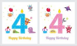 Ślicznego potwora zaproszenia Urodzinowa karta Fotografia Stock