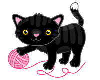 Ślicznej kreskówki czarny kot z pazurem. Obraz Stock