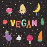 Ślicznej kreskówki weganinu śliczna ilustracja z owoc i warzywo Fotografia Royalty Free