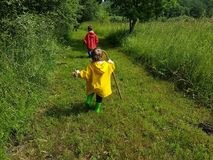 Śliczni berbecie biega na rolnej drodze z kijem Obraz Stock