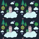 Śliczni domy, chmury i drzewa, Wektorów dzieciaków wzór Zdjęcia Royalty Free