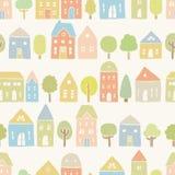Śliczni domy i drzewo wzór Zdjęcie Stock