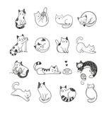 ?liczni doodle koty fotografia royalty free