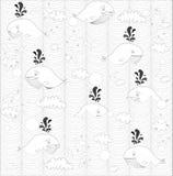 Śliczni doodle wieloryby Zdjęcia Royalty Free