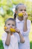Śliczni dzieci je kukurudzy outdoors Fotografia Stock