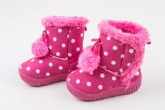 Śliczni dziewczynek menchii buty Obrazy Royalty Free