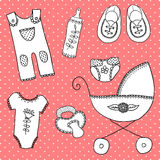 Śliczni elementy dla dziecko przyjazdowej karty Obrazy Royalty Free