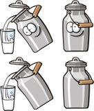 Śliczni jedzenia - mleko puszka Obrazy Royalty Free