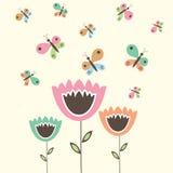 Śliczni kwiaty i motyle Zdjęcie Stock