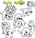 Śliczni prehistoryczni dinosaury, set wektorowi wizerunki Obraz Royalty Free