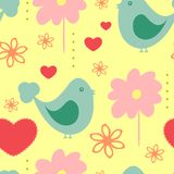 Śliczny bezszwowy wzór z abstrakcjonistycznymi ptakami, kwiatami i sercami, Zdjęcia Stock