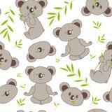 Śliczny bezszwowy wzór z koalami i eukaliptusem Zdjęcie Stock
