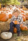 Śliczny chłopiec obsiadanie, mienie i Jego bania przy Dyniową łatą Zdjęcie Stock